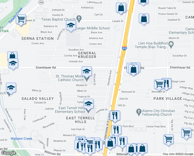 map of restaurants, bars, coffee shops, grocery stores, and more near 4507 Waikiki Drive in San Antonio