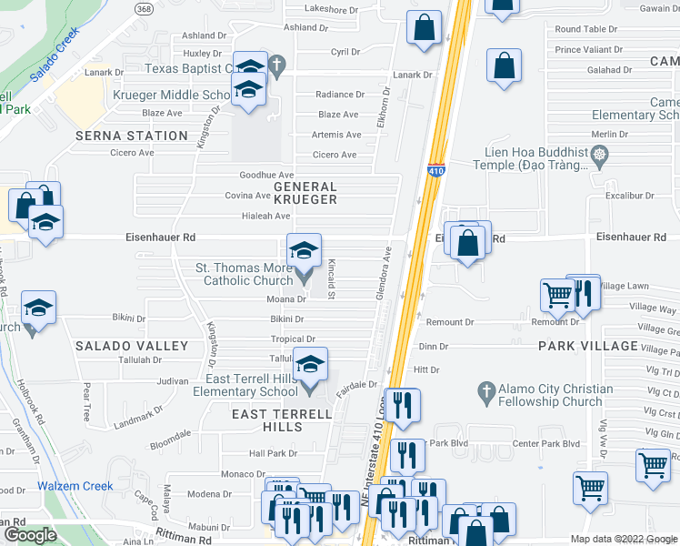 map of restaurants, bars, coffee shops, grocery stores, and more near 4507 Waikiki Dr in San Antonio