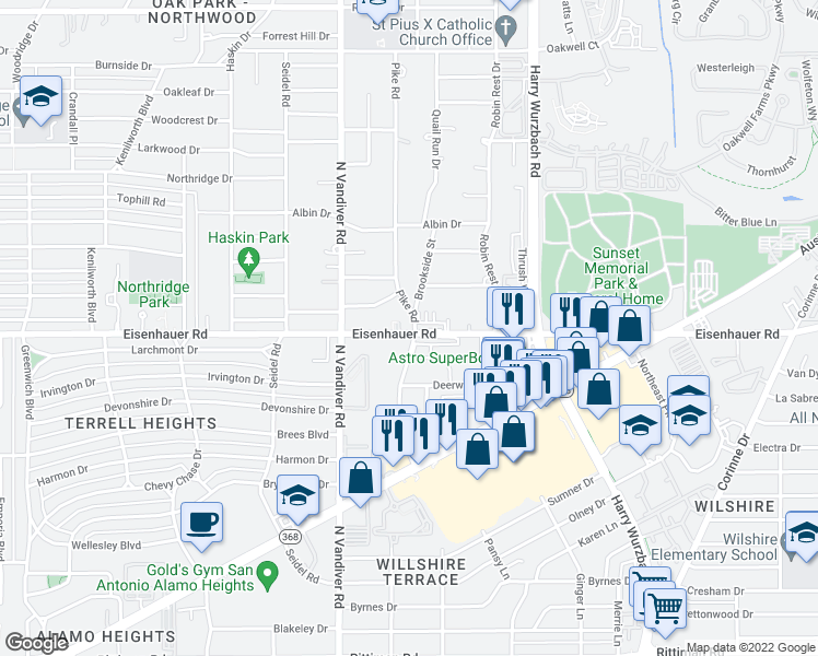 map of restaurants, bars, coffee shops, grocery stores, and more near 103 Pike Road in San Antonio