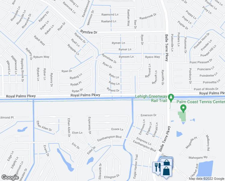 map of restaurants, bars, coffee shops, grocery stores, and more near 43 Ryland Drive in Palm Coast