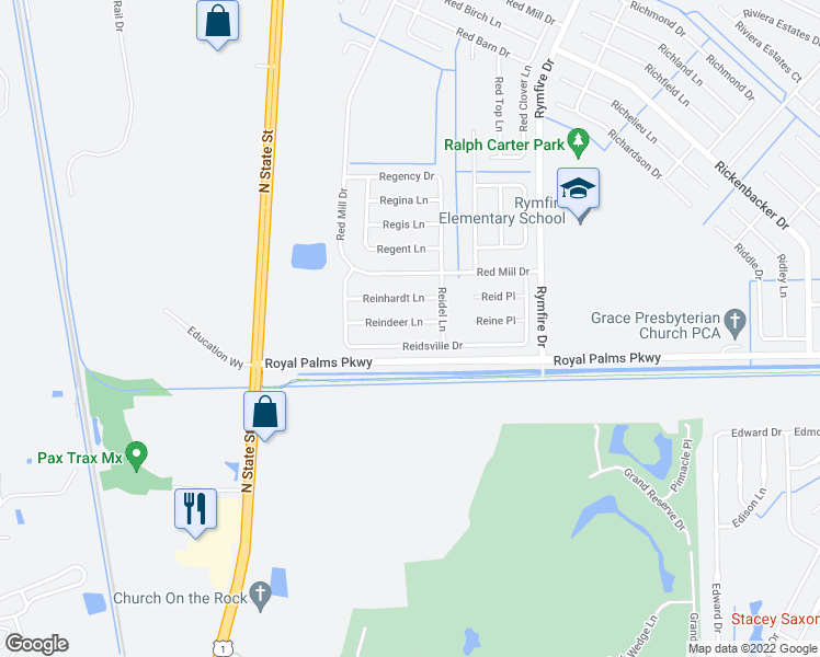 map of restaurants, bars, coffee shops, grocery stores, and more near 59 Reidsville Drive in Palm Coast