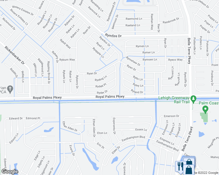 map of restaurants, bars, coffee shops, grocery stores, and more near 53 Ryder Drive in Palm Coast