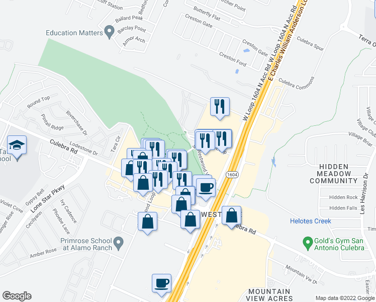 map of restaurants, bars, coffee shops, grocery stores, and more near 10919 Westwood Loop in San Antonio