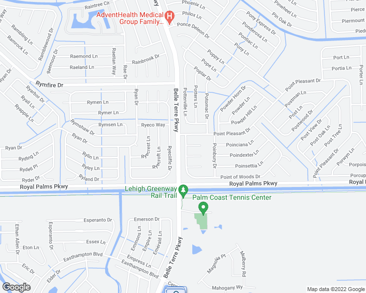map of restaurants, bars, coffee shops, grocery stores, and more near 8 Point of Woods Drive in Palm Coast