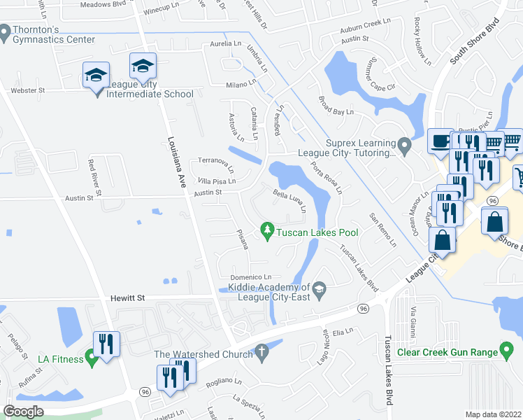 map of restaurants, bars, coffee shops, grocery stores, and more near 2752 San Nicolo Lane in League City