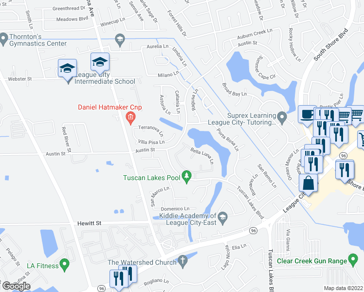 map of restaurants, bars, coffee shops, grocery stores, and more near 1271 Portefino Lane in League City