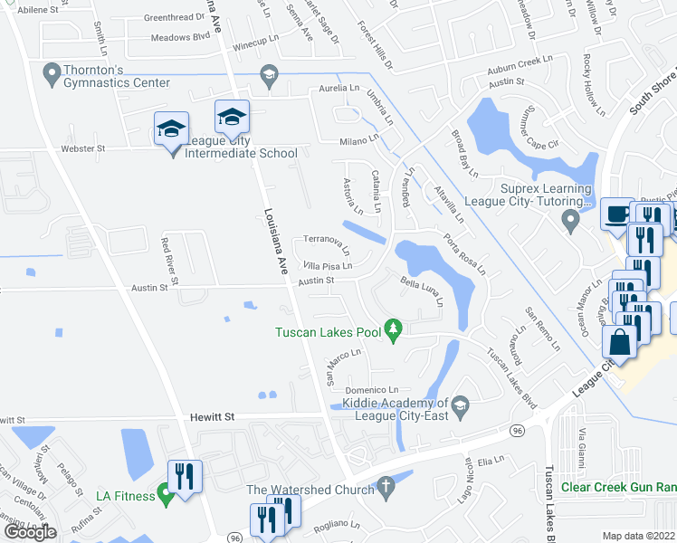 map of restaurants, bars, coffee shops, grocery stores, and more near 2733 Villa Pisa Lane in League City