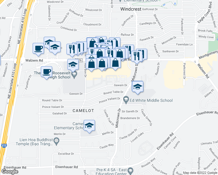 map of restaurants, bars, coffee shops, grocery stores, and more near 5254 Gawain Drive in San Antonio