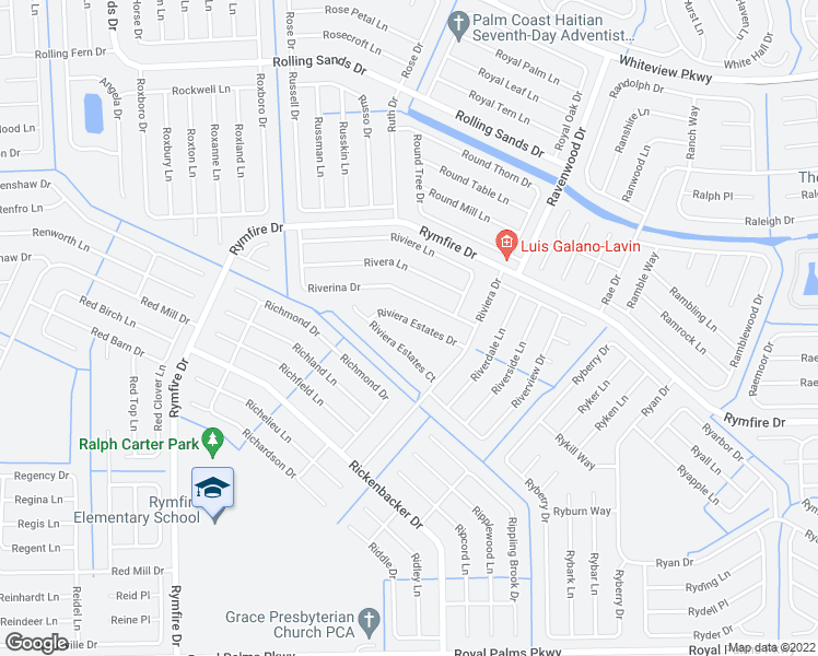 map of restaurants, bars, coffee shops, grocery stores, and more near 16 Riviera Estates Court in Palm Coast