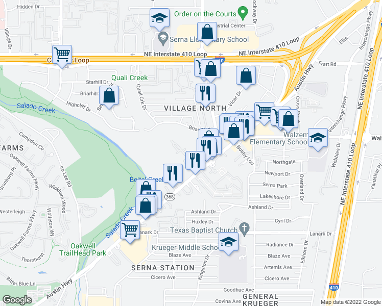 map of restaurants, bars, coffee shops, grocery stores, and more near 2355 Austin Highway in San Antonio