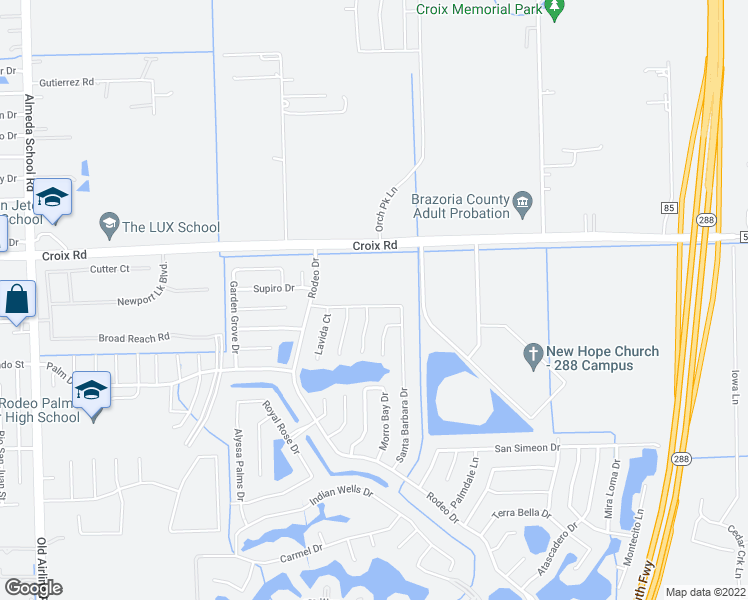 map of restaurants, bars, coffee shops, grocery stores, and more near 33 Laguna Bend Drive in Manvel
