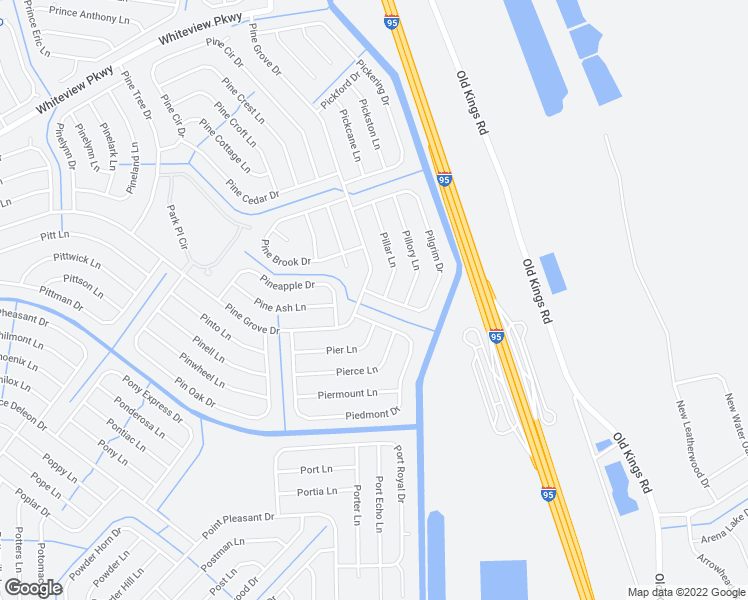 map of restaurants, bars, coffee shops, grocery stores, and more near 89 Pilgrim Drive in Palm Coast