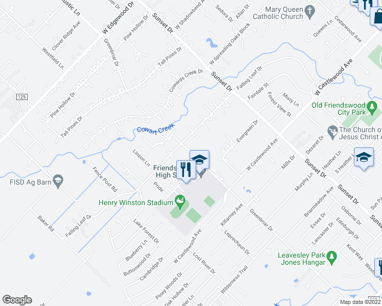 map of restaurants, bars, coffee shops, grocery stores, and more near 705 Greenbriar Drive in Friendswood