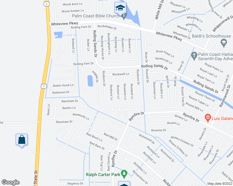 map of restaurants, bars, coffee shops, grocery stores, and more near 24 Roxton Lane in Palm Coast