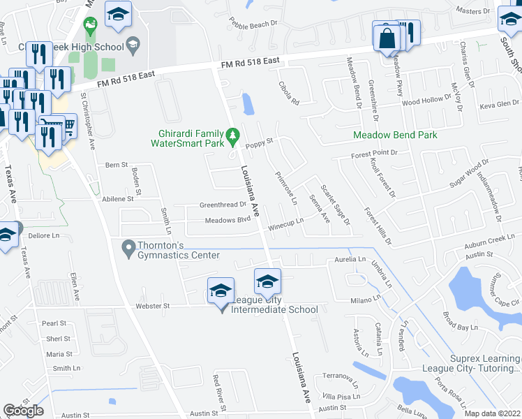 map of restaurants, bars, coffee shops, grocery stores, and more near 405 Jessamine Way in League City