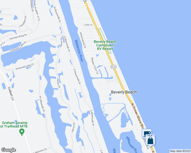 map of restaurants, bars, coffee shops, grocery stores, and more near 51 Shelter Cove Circle in Flagler Beach