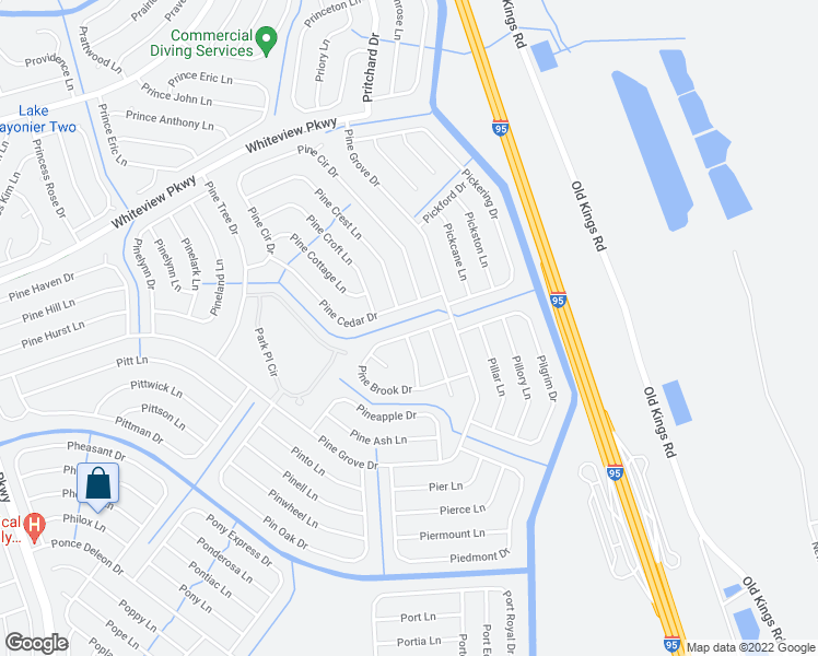 map of restaurants, bars, coffee shops, grocery stores, and more near 12 Pine Brook Drive in Palm Coast