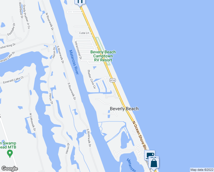 map of restaurants, bars, coffee shops, grocery stores, and more near 88 Hidden Cove in Flagler Beach