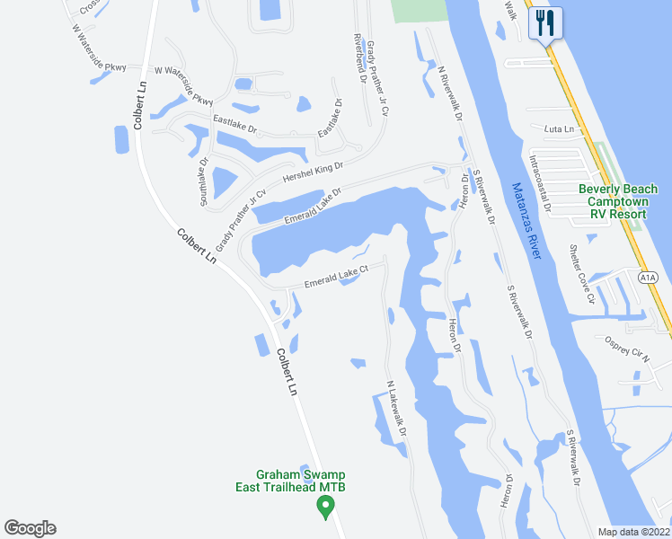 map of restaurants, bars, coffee shops, grocery stores, and more near 25 Emerald Lake Court in Palm Coast