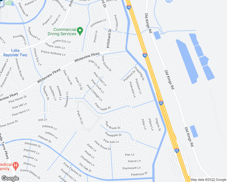 map of restaurants, bars, coffee shops, grocery stores, and more near 55 Pine Crest Lane in Palm Coast