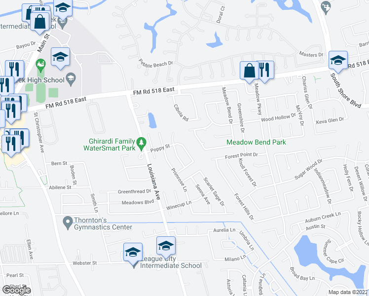 map of restaurants, bars, coffee shops, grocery stores, and more near 321 Poppy St in League City