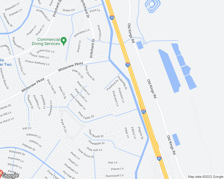 map of restaurants, bars, coffee shops, grocery stores, and more near 2 Pickston Lane in Palm Coast