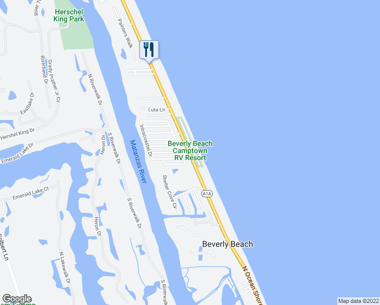 map of restaurants, bars, coffee shops, grocery stores, and more near 2669 North Ocean Shore Boulevard in Beverly Beach