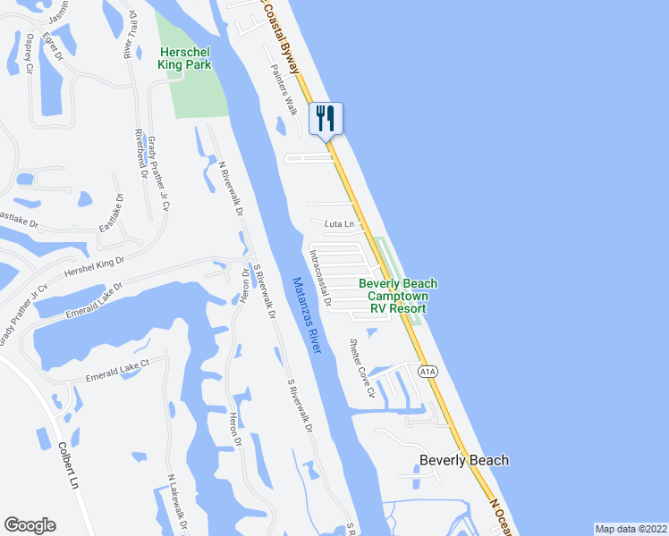 map of restaurants, bars, coffee shops, grocery stores, and more near 90 Merrimac Drive in Flagler Beach