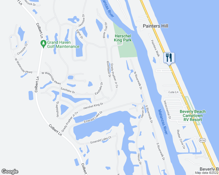 map of restaurants, bars, coffee shops, grocery stores, and more near 52 Riverbend Drive in Palm Coast