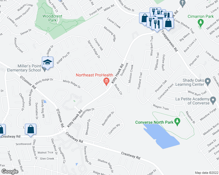 map of restaurants, bars, coffee shops, grocery stores, and more near 7585 Kitty Hawk Road in Converse