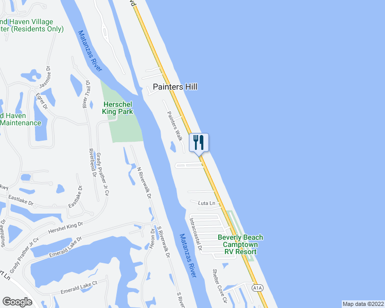 map of restaurants, bars, coffee shops, grocery stores, and more near 2995 Painters Walk in Flagler Beach