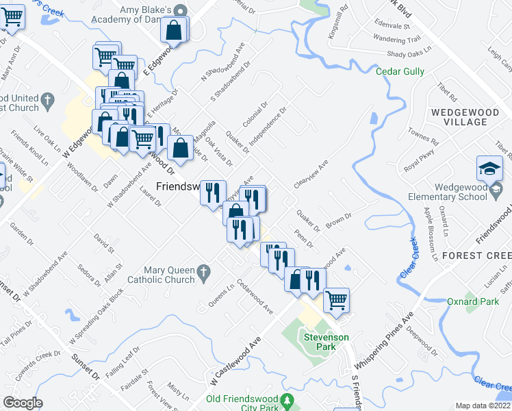 map of restaurants, bars, coffee shops, grocery stores, and more near 111 Skyview Terrace in Friendswood