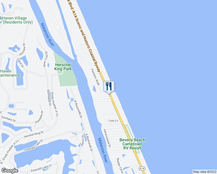 map of restaurants, bars, coffee shops, grocery stores, and more near 3001 North Oceanshore Boulevard in Flagler Beach