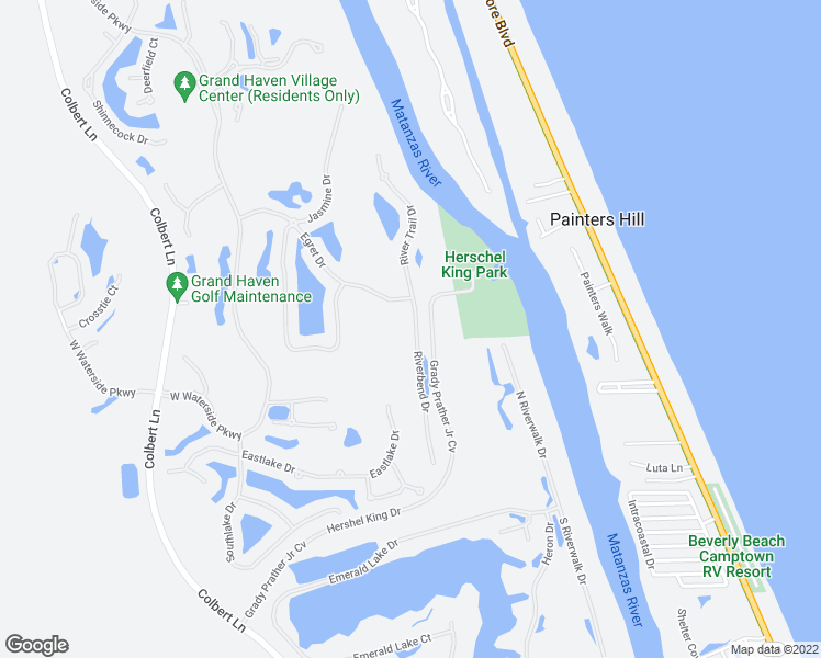 map of restaurants, bars, coffee shops, grocery stores, and more near 12 Riverbend Drive in Palm Coast