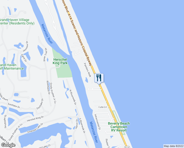 map of restaurants, bars, coffee shops, grocery stores, and more near 3027 Painters Walk in Flagler Beach