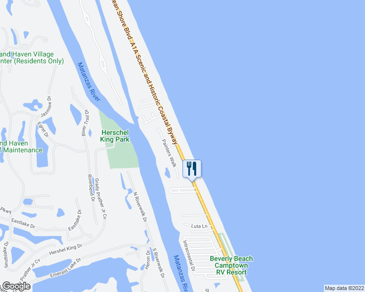 map of restaurants, bars, coffee shops, grocery stores, and more near 3051 North Oceanshore Boulevard in Flagler Beach