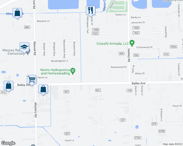 map of restaurants, bars, coffee shops, grocery stores, and more near 3005 Kirby Drive in Pearland
