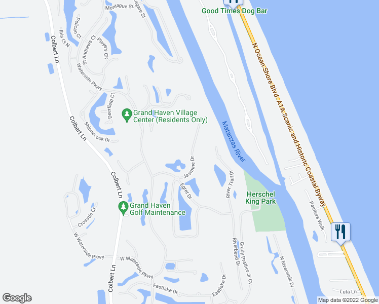 map of restaurants, bars, coffee shops, grocery stores, and more near 28 Jasmine Drive in Palm Coast