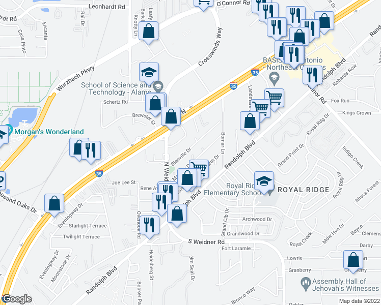 map of restaurants, bars, coffee shops, grocery stores, and more near 5639-5643 Bienville Drive in San Antonio