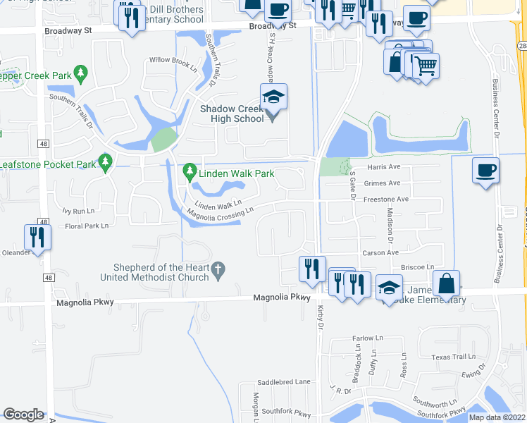 map of restaurants, bars, coffee shops, grocery stores, and more near 11807 Arroyo Springs Lane in Pearland