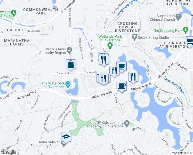 map of restaurants, bars, coffee shops, grocery stores, and more near 4711 LJ Parkway in Sugar Land