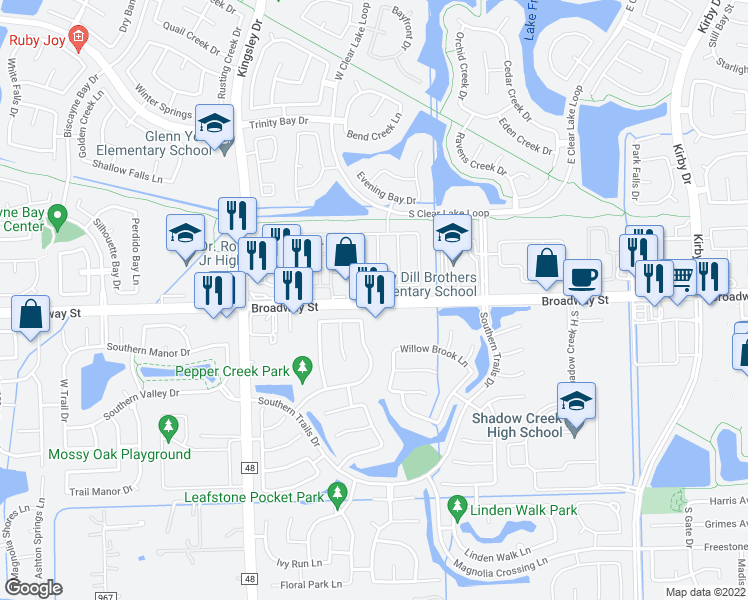 map of restaurants, bars, coffee shops, grocery stores, and more near 12412 Shady Brook Drive in Pearland