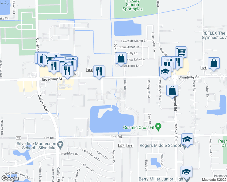 map of restaurants, bars, coffee shops, grocery stores, and more near 2850 Oak Road in Pearland