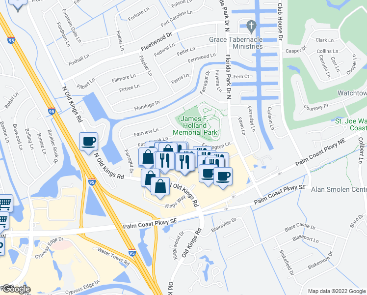 map of restaurants, bars, coffee shops, grocery stores, and more near 8 Faith Lane in Palm Coast