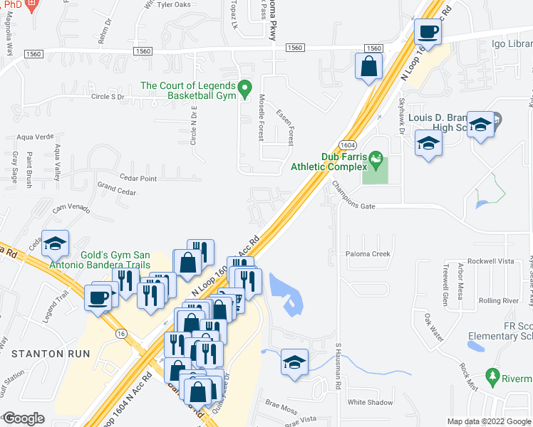 map of restaurants, bars, coffee shops, grocery stores, and more near Charles William Anderson Loop in San Antonio