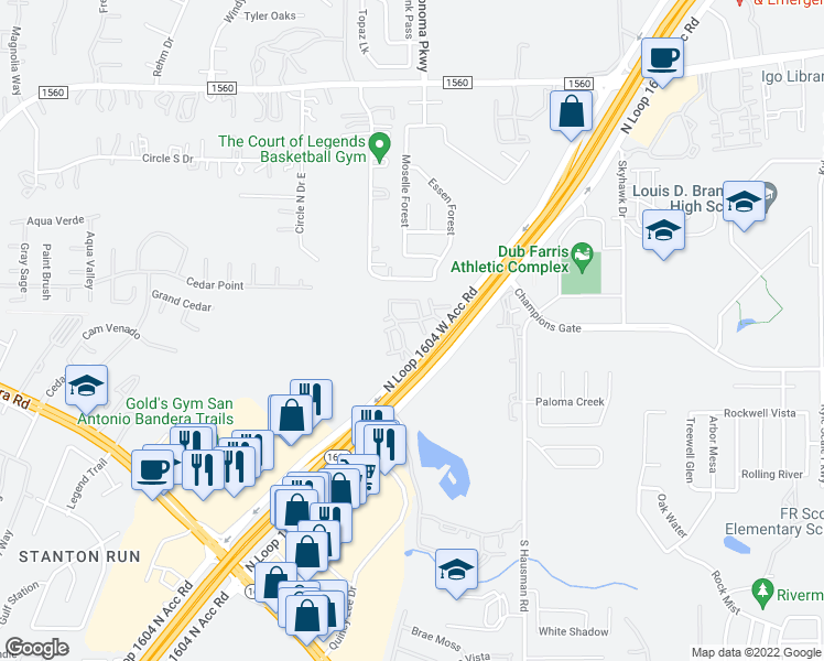 map of restaurants, bars, coffee shops, grocery stores, and more near 8603 North Loop 1604 West in San Antonio