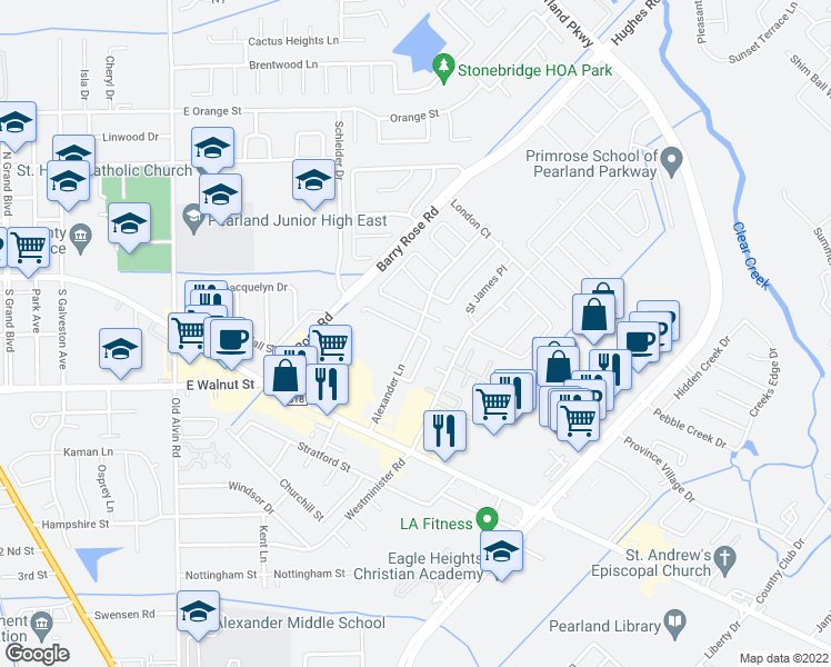 map of restaurants, bars, coffee shops, grocery stores, and more near 2350-2398 Alexander Lane in Pearland