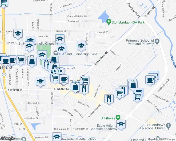 map of restaurants, bars, coffee shops, grocery stores, and more near 2314 Schleider Drive in Pearland