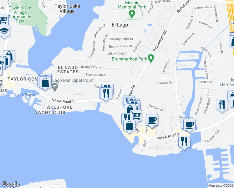 map of restaurants, bars, coffee shops, grocery stores, and more near 3520 East Nasa Parkway in Seabrook