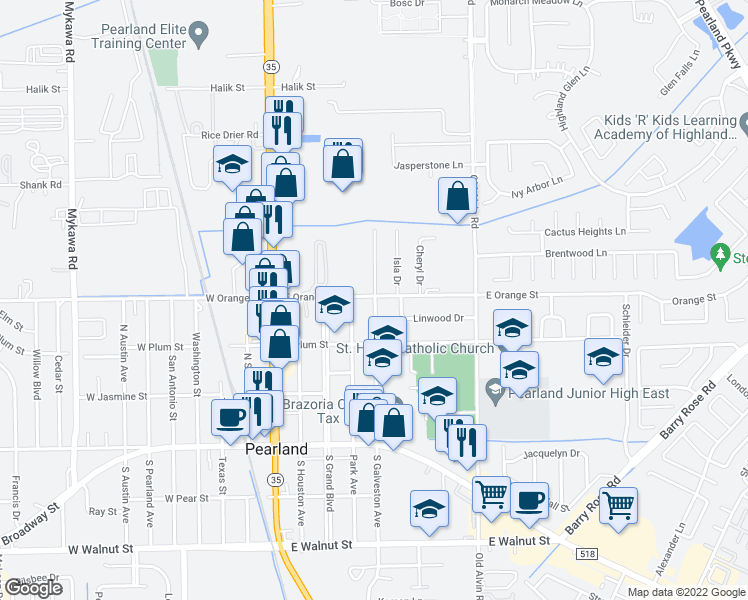 map of restaurants, bars, coffee shops, grocery stores, and more near 2102 North Galveston Avenue in Pearland
